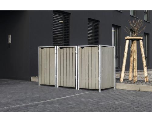 Mülltonnenbox HIDE Holz 210x80,7x115,2 cm grau