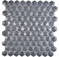 Glasmosaik Arctic 01 Hexagon Eco schwarz 3D 29x30 cm