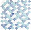Glasmosaik FAN07 Fanshape Eco mix weiß hellblau 29x30 cm