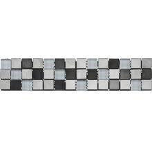 Glasbordüre mit Metall 5,9 x 30,5 cm silber schwarz