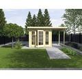 Gartenhaus weka Panorama 172 Gr.1 mit Fußboden und Anbau 300 cm 530 x 239 cm natur