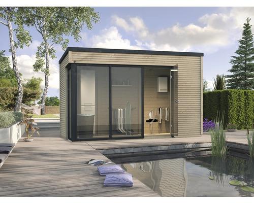 Gartenhaus weka Designhaus Cubilis 412 Gr.2 mit selbstklebender Dachfolie und Fußboden 380 x 380 cm natur