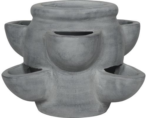 Erdbeertopf Terrakotta Ø 36 H 26 cm grau