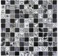 Glasmosaik Quadrat Crystal Mix black