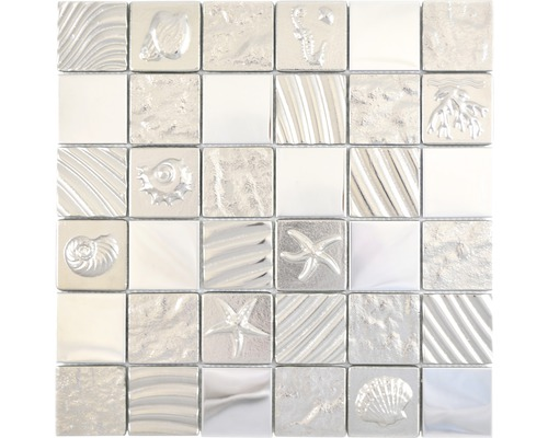 Glasmosaik Quadrat Crystal Mix Relief silver