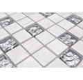 Natursteinmosaik Quadrat Crystal/Stein/Stahl wood white