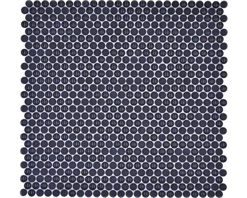 Glasmosaik Rund Enamel mix schwarz glänzend/matt