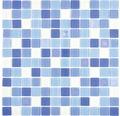 Glasmosaik Quadrat Crystal Mix blau light blue fluoreszierend
