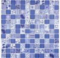 Glasmosaik Quadrat Crystal Mix blue