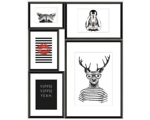 Gerahmte Bilder Set Collage schwarz 5tlg. YippieYeah 53x65 cm