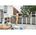 Gartenschrank/Outdoorküche Konsta Typ 561 Hochschrank inkl. 2 Türen 60x60x160 cm hellgrau-creme