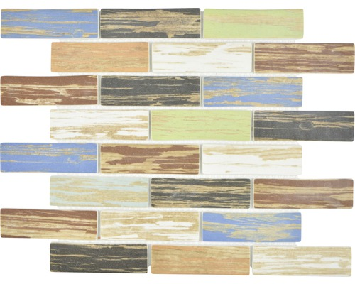 Glasmosaik XCM BR91 Brick Eco Mix Wood Bunt