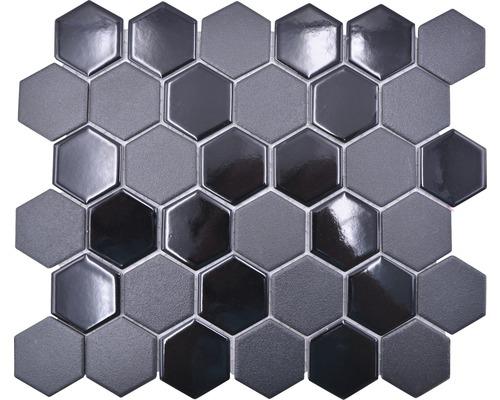 Keramikmosaik HX 09059 Hexagon 32,5x28,1 cm mix schwarz R10B