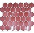 Keramikmosaik HX540 Hexagon Uni bordeauxrot glänzend