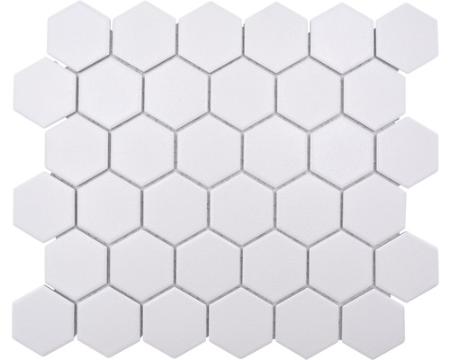 Keramikmosaik HX AT51 Hexagon 32,5x28,1 cm Uni weiß R10B