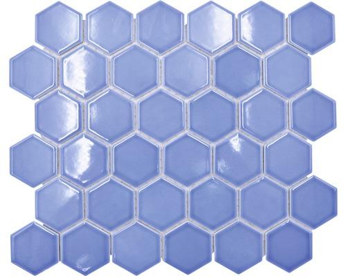 Keramikmosaik HX580 Hexagon Uni türkisgrün glänzend