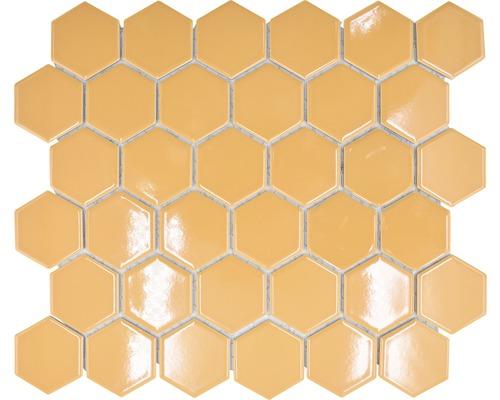Keramikmosaik HX570 Hexagon Uni ockerorange glänzend