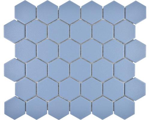 Keramikmosaik HX AT53 Hexagon 32,5x28,1 cm Uni blaugrün R10B