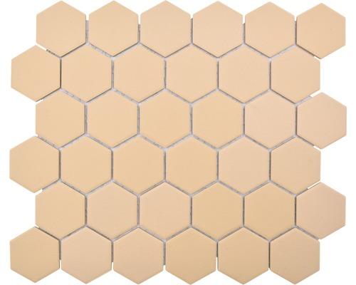 Keramikmosaik HX AT57 Hexagon Uni ockerorange R1
