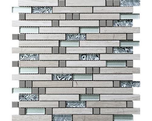 Natursteinmosaik Stein/Stahl/Holz 30 x 29,8 cm 8 mm