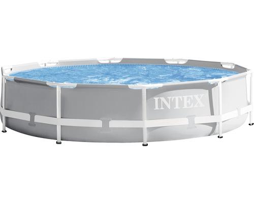 Aufstellpool Framepool-Set Intex Prism Rondo rund Ø 305x76 cm inkl. Kartuschenfitleranlage, Anschlussschlauch grau