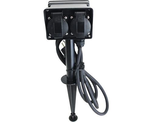 Gartensteckdose 4-fach mit Erdspieß IP44 1,5 m Kabel schwarz bis max. 3680 Watt
