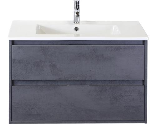 Badmöbel-Set Porto 90 cm mit Keramikwaschtisch Beton anthrazit