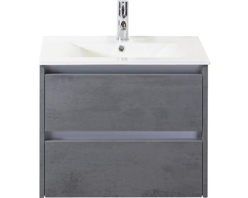 Badmöbel-Set Dante 60 cm mit Keramikwaschbecken Beton anthrazit