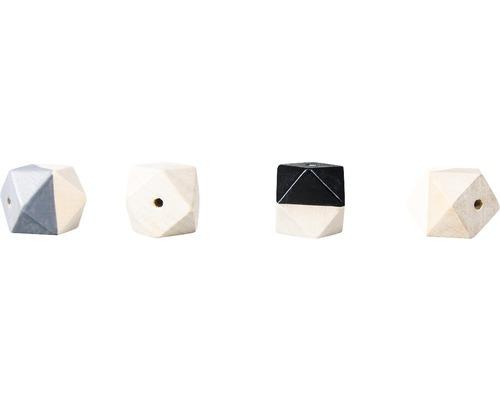 Holzperlen Diamant, 2,5cm ø, s/w, 4 Stück