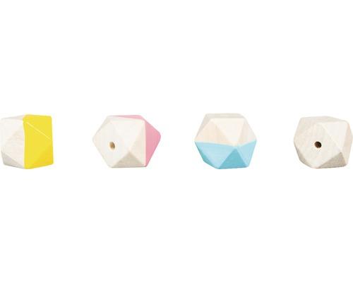 Holzperlen Diamant, 2,5cm ø, bunt, 4 Stück