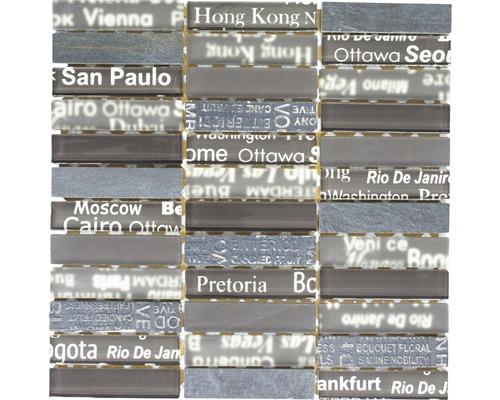 Glasmosaik mit Naturstein City 49 braun 30x30 cm