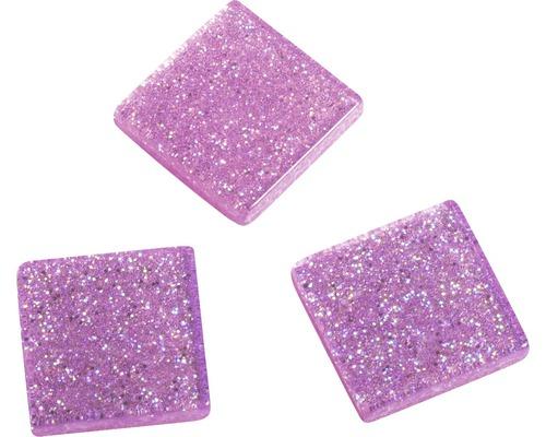Acryl-Mosaik, 1x1 cm, Glitter, rosa