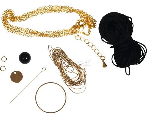 Boho-Quastenkette, schwarz/gold