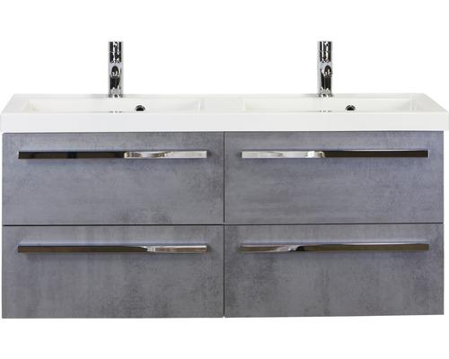 Badmöbel-Set Seville 120 cm mit mit Doppelwaschtisch Beton anthrazit