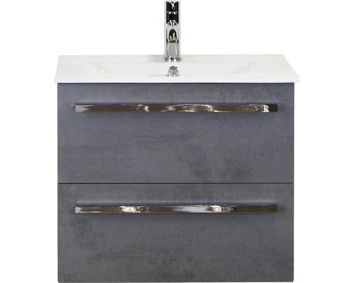 Badmöbel-Set Dante 60 cm mit Keramikwaschbecken Model 1 Beton anthrazit