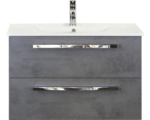 Badmöbel-Set Seville 80 cm mit Keramikwaschtisch Model 1 Beton anthrazit