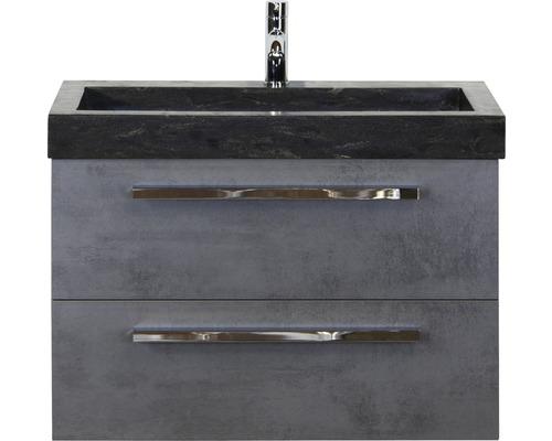 Badmöbel-Set Seville 80 cm mit Natursteinwaschtisch Beton anthrazit