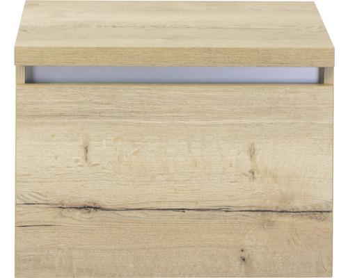 Waschtischunterschrank Frozen 60 cm mit Waschtischplatte Eiche natur