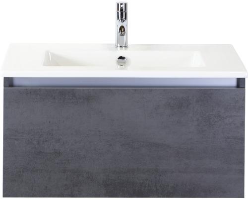 Badmöbel-Set Frozen 80 cm mit Keramikwaschtisch Beton anthrazit