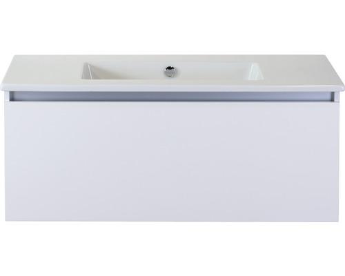 Badmöbel-Set Frozen 100 cm mit Keramikwaschtisch ohne Hahnloch weiß hochglanz