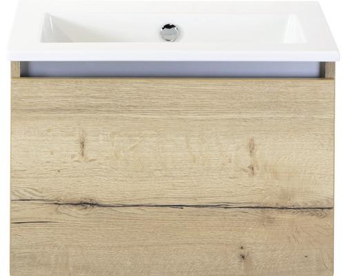 Badmöbel-Set Frozen 60 cm mit Keramikwaschtisch ohne Hahnloch Eiche natur