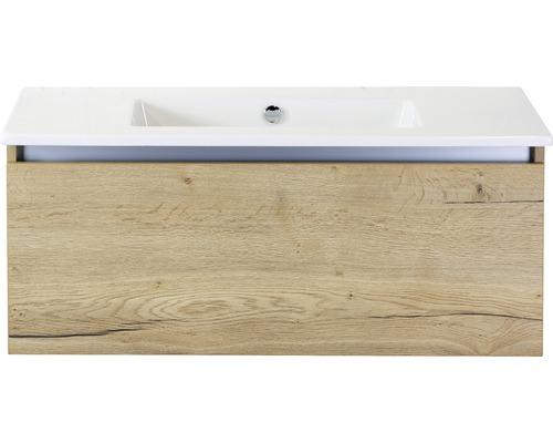 Badmöbel-Set Frozen 100 cm mit Keramikwaschtisch ohne Hahnloch Eiche natur