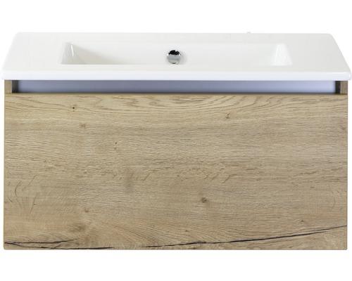 Badmöbel-Set Frozen 80 cm mit Keramikwaschtisch ohne Hahnloch Eiche natur