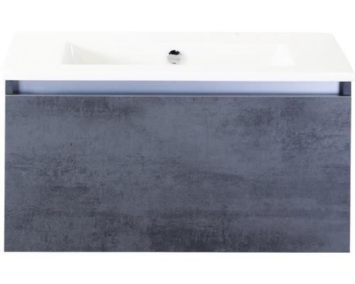Badmöbel-Set Frozen 80 cm mit Keramikwaschtisch ohne Hahnloch Beton anthrazit
