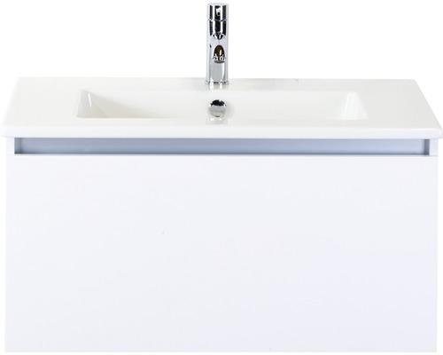 Badmöbel-Set Frozen 80 cm mit Keramikwaschtisch weiß hochglanz