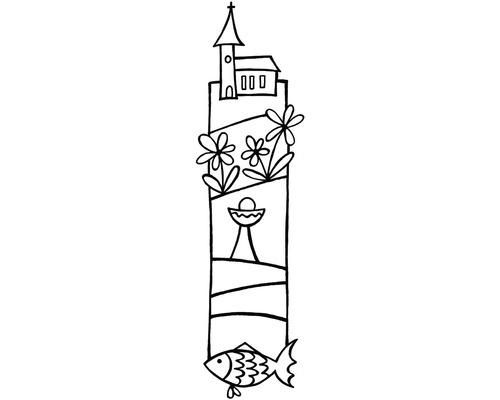 Stempel Kirche 4x12cm