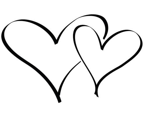 Stempel Zwei Herzen, 4x6cm