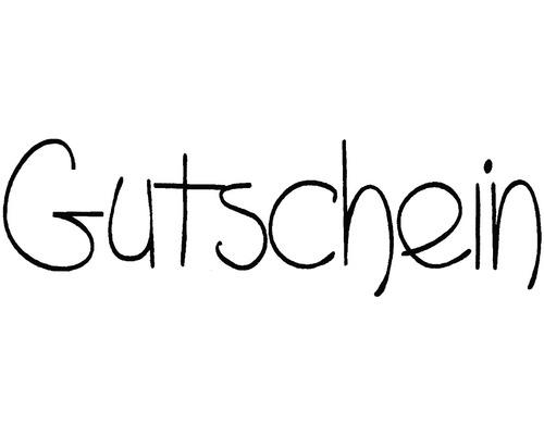 """H.- Stempel """"Gutschein"""", 3x8cm"""