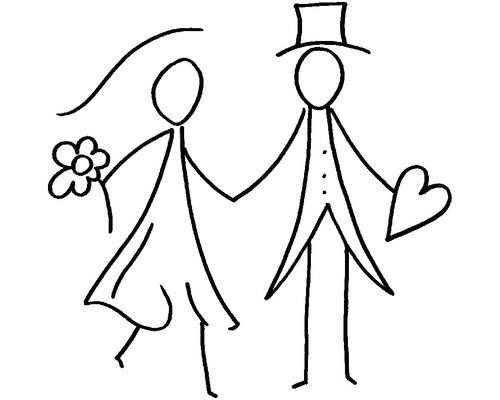 H.- Stempel Strichmännchen Brautpaar