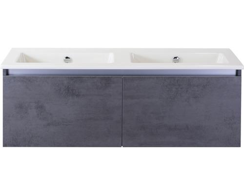 Badmöbel-Set Frozen 120 cm mit Doppelwaschtisch Keramik ohne Hahnloch Beton anthrazit